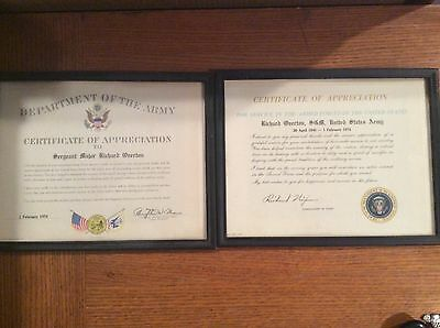 Military Certificate of Appreciation 1974 Nixon & Abrams President & Army Seals