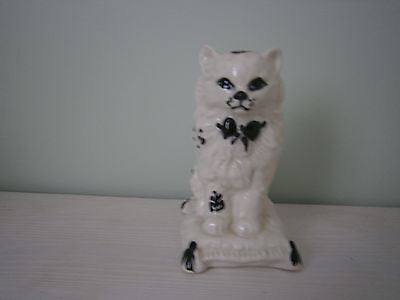 Unmarked White And Blue Porcelain Dog/Cat On A Cushion