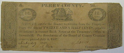 PERRY COUNTY PENNSYLVANIA PA OBSOLETE CURRENCY 1837 BLOOMFIELD 12 1/2 c BEE HIVE