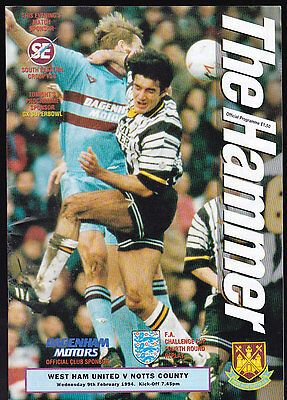 1993/94 WEST HAM UNITED V NOTTS COUNTY 09-02-1994 FA Cup 4th Round Replay