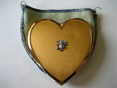 Vintage WWII US Marine Corps Gold Tone Heart Compact with Dust Pouch
