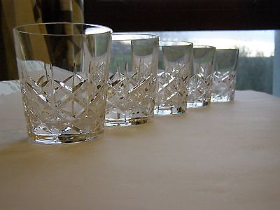 5 Vintage Crystal Tumblers Hand Blow and Hand Cut