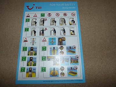 TUI Airlines Boeing 767 300 Series Safety Card Issue August 2016