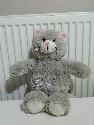 Build a Bear - Teddy - Grey cat - pink nose and ears - really cute - VGC