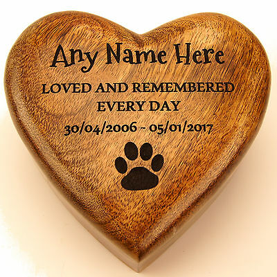 Large Medium Small Heart Wooden Pet Urn For Ashes Dog Personalised Cremation Box