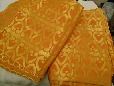 "Vintage Pair Curtains Gold Satin Damask Cotton Taped 72"" Retro 60S Shiny Orange"