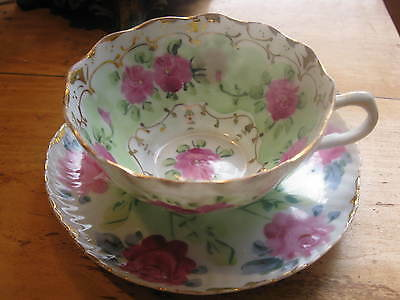 Antique Stunning  Nippon Hand Painted  Tea Cup And Saucer