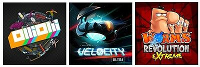 3 x Games Worms Revolution Extreme + Velocity Ultra + OlliOlli PS Vita DLC Code