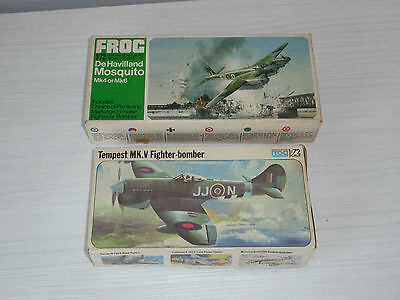 Frog 1/72 Aircraft kits x 2, Lot V, Mosquito & Tempest.