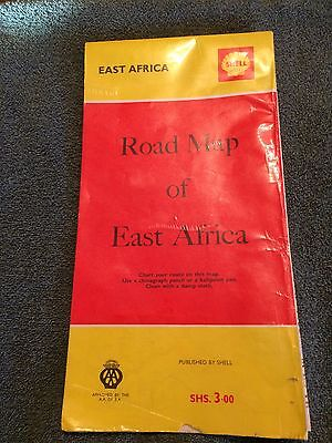 1965 SHELL ROAD MAP Of EAST AFRICA - Shell Gasoline Service Station Collectible