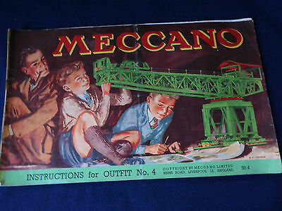Vintage Meccano Instructions for Outfit No.4