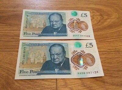 AK & AA Polymer £5 note low serial number
