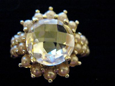 Vintage Size O Sterling silver Faceted Diamante Sea Pearl cluster Cocktail Ring