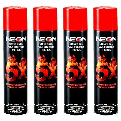 4 CANS NEON BUTANE GAS 300ml 5X REFINED FILTERED LIGHTER REFILL FUEL IGNITUS