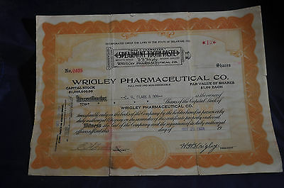 1924 10 Shares Wrigley Pharmaceutical Company *SIGNED* by Wrigley