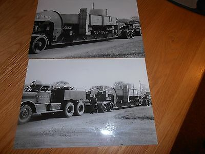 2 x original photos of Wynn's Transport vehicles, delivering to Abbey works SCOW