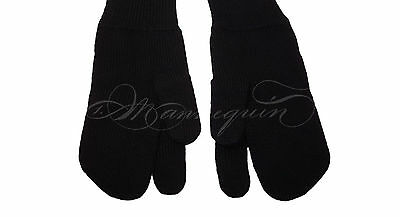MAISON MARTIN MARGIELA TABI Black Wool Mittens Gloves Size S - ONLY USED TWICE