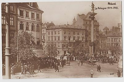 PPC WWI Poland 'Varsaw Castle Square, Awaiting the wounded' made in Italy ST81