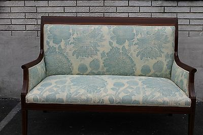 Gorgeous English Stencil Inlaid Hepplewhite Mahogany Love Seat Settee, 19th C.