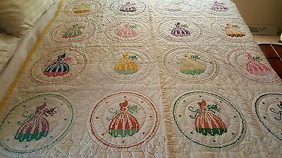 NEW Southern Belle pattern quilt 65 wide x 88 long, hand quilted, NEVER USED