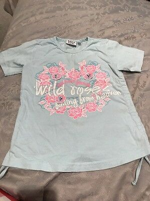 Girls Barbara Farber T Shirt Blue With Pink And White Flowers Size 122/128