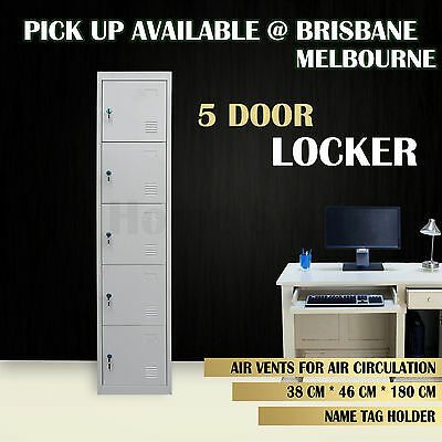 5 Door Locker Metal Storage Cabinet Locker Office Gym School Shop Steel Safe MEL