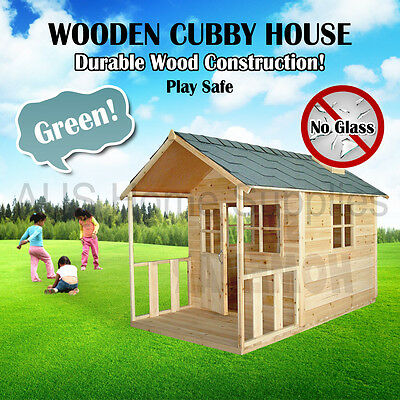 Green Wooden Cubby House Outdoor Furniture Playhouse Durable Wood Safety Kid MEL