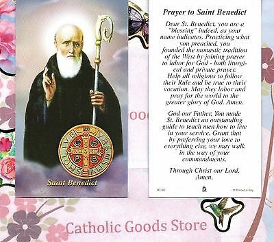 Saint. Benedict with prayer to St Benedict - Paperstock Holy Card
