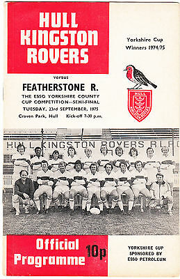 Hull Kingston Rovers v Featherstone Rovers 1975/6 (23 Sep) Yorkshire Cup Semi
