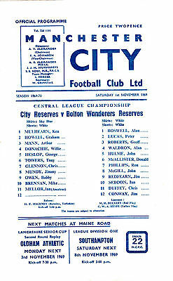 Manchester City Reserves v Bolton W Reserves 1969/70 (1 Nov) Central League