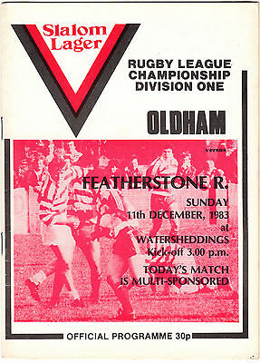 Oldham v Featherstone Rovers 1983/4 (11 Dec)