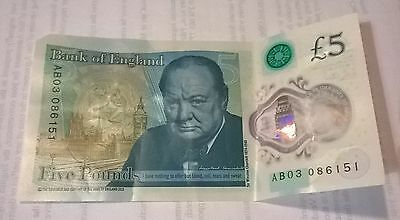 New  polymer £5 pound note serial no AB03.