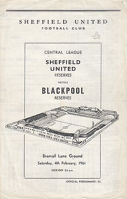Sheffield United Reserves v Blackpool Reserves 1960/1