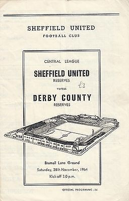 Sheffield United Reserves v Derby County Reserves 1964/5