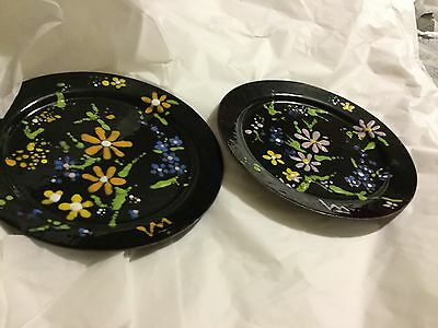 """EXCELLENT CONDITION Mixed Pair of Copper Enamel Signed Flower Plates - 7.5"""""""