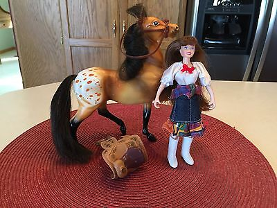 Breyer Reeves Brown w/ Spots & Hair Horse w/ Cowgirl Riding Doll