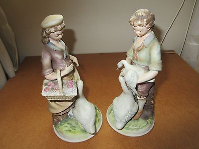 Vintage ANDREA by SADEK Hand Painted Porcelain Figurines Girl Boy Geese #6425