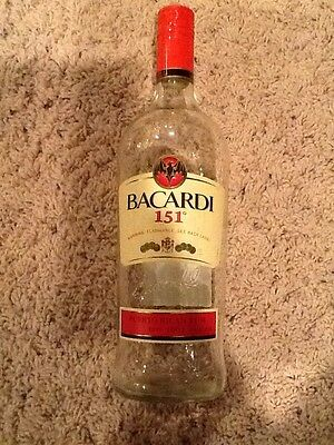 Bacardi 151 Puerto Rican Rum Empty Bottle Arts, Crafts, Decanter, Collectable!