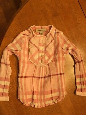 Burberry Toddler Girls Pink Plaid Shirt Size 2 (Runs Small More Like 18-24 Mnth)