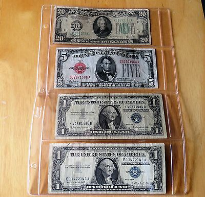 Older Us Currency A 20$ Bill, 5$ Bill, And 2 Silver Certificate 1$