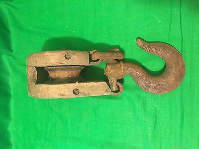 Antique Old Primitive Wood Single Pulley Block Rustic Vintage Large Hook