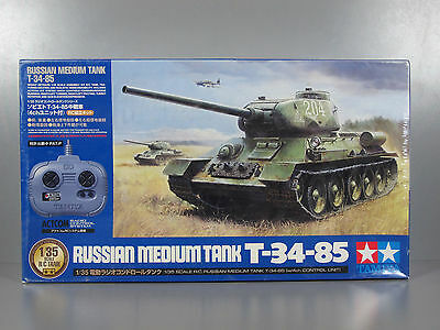 New Tamiya R/C 1/35 Russian Medium Tank T-34-85 w/4ch Control Unit Transmitter