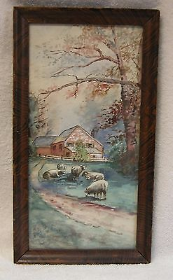 Antique 1915 Sheep, lambs watercolor painting in period figured mahogany frame