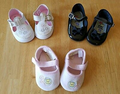 Baby Girls Shoes Lot, Size 1/0-6 Months, Crib Shoes, Soft Sole