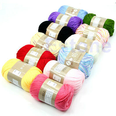 50g Baby Hand Warm Super Soft Knitting Silk Crochet Skein Cotton Yarn