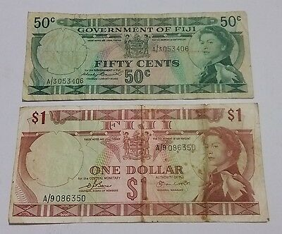 FIJI old 50 cents & $1 dollar paper notes older Pacific currency