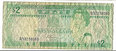 1987 Fiji old $2 dollars paper note QEII
