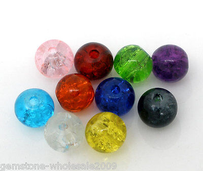 200PCS Wholesale Lots Mixed Crackle Glass Round Beads Findings 6mm