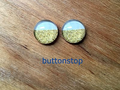 2 x 12mm glass dome cabochons - gold & white