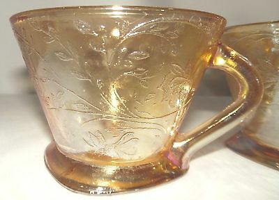 Four Floragold Louisa-Iridescent Depression Glass Tea cups by Jeannette gold